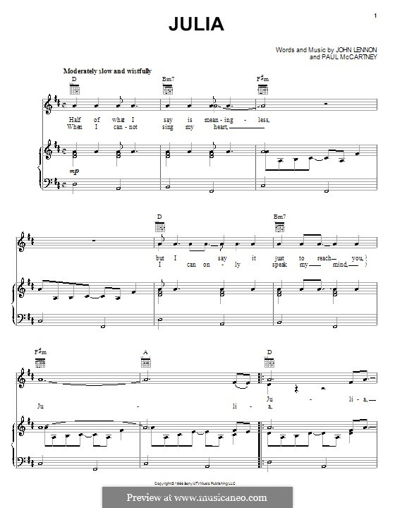 Julia (The Beatles): For voice and piano (or guitar) by John Lennon, Paul McCartney