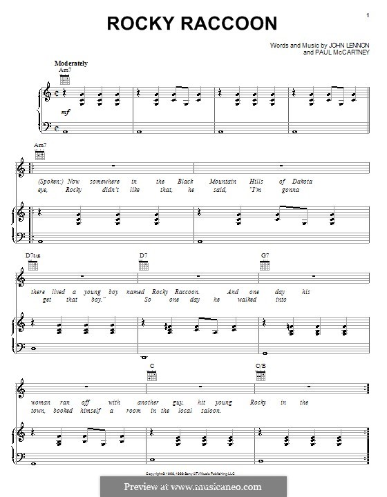 Rocky Raccoon (The Beatles): For voice and piano (or guitar) by John Lennon, Paul McCartney