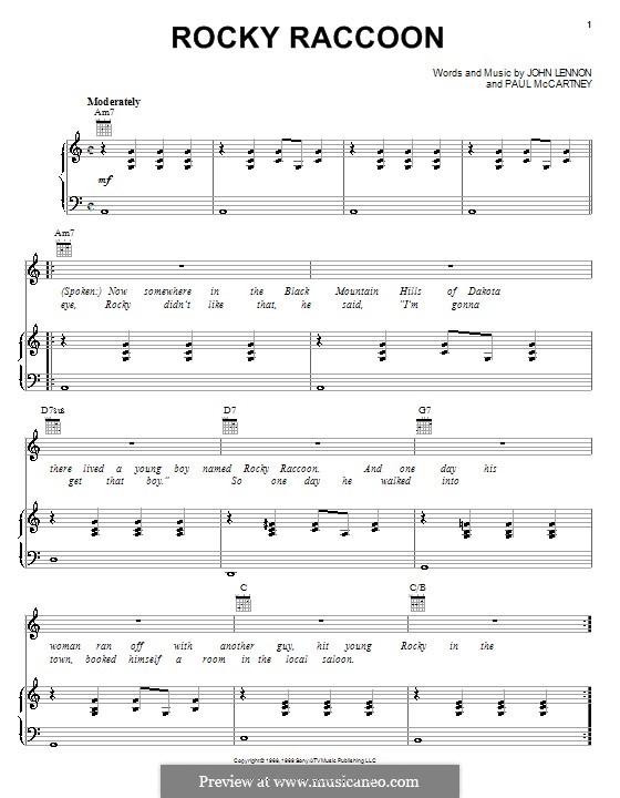Rocky Raccoon The Beatles By J Lennon P Mccartney On Musicaneo