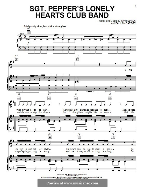 Sgt. Pepper's Lonely Hearts Club Band (The Beatles): For voice and piano (or guitar) by John Lennon, Paul McCartney