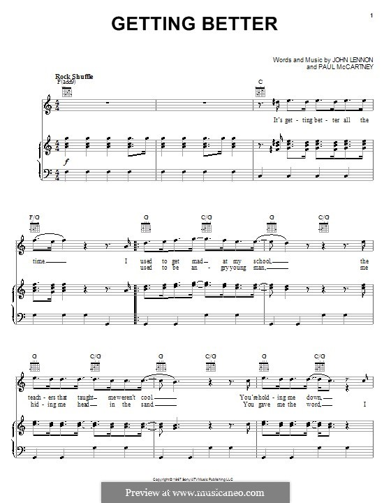 Getting Better (The Beatles): For voice and piano (or guitar) by John Lennon, Paul McCartney