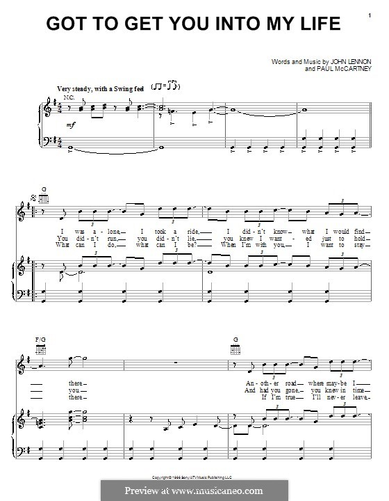 Got To Get You Into My Life (The Beatles): For voice and piano (or guitar) by John Lennon, Paul McCartney