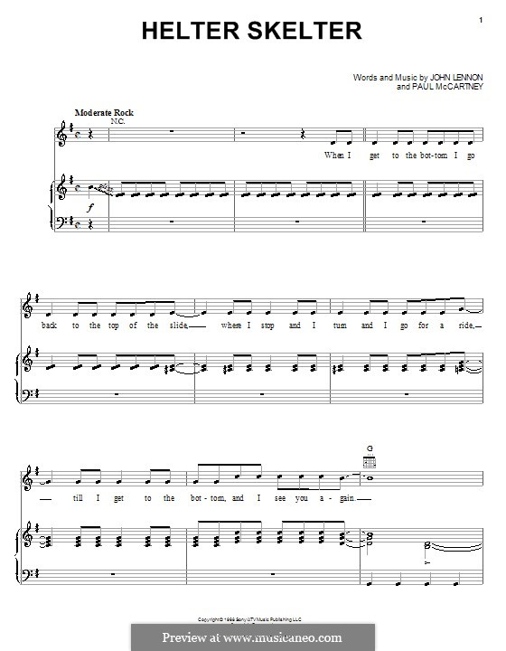 Helter Skelter (The Beatles): For voice and piano (or guitar) by John Lennon, Paul McCartney