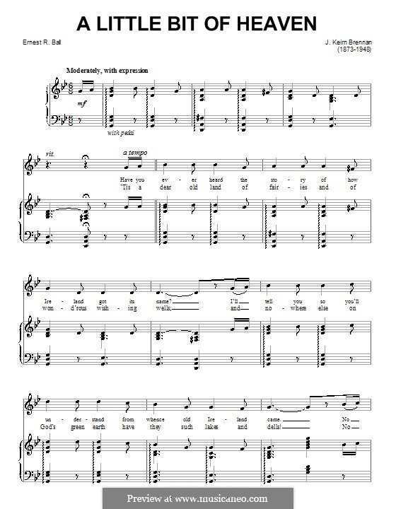 A Little Bit of Heaven: For voice and piano (or guitar) by Ernest R. Ball