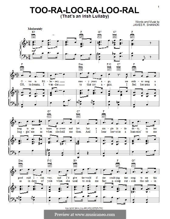 Too-Ra-Loo-Ra-Loo-Ral (That's an Irish Lullaby): For voice and piano (or guitar) by James Royce Shannon
