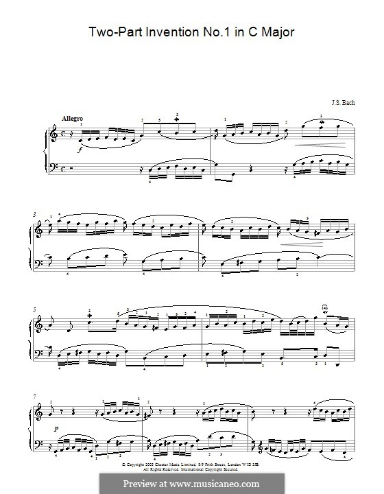 No.1 in C Major, BWV 772: For piano (high quality sheet music) by Johann Sebastian Bach