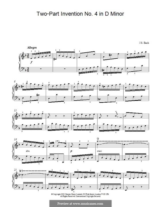 No.4 in D Minor, BWV 775: For piano by Johann Sebastian Bach