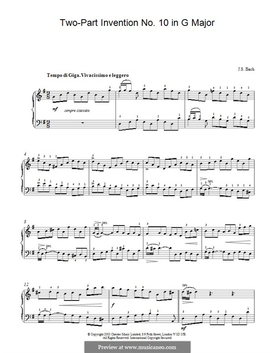 No.10 in G Major, BWV 781: For piano by Johann Sebastian Bach