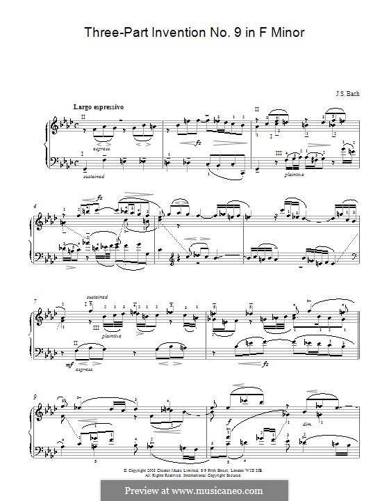 No.9 in F Minor, BWV 795: For piano by Johann Sebastian Bach