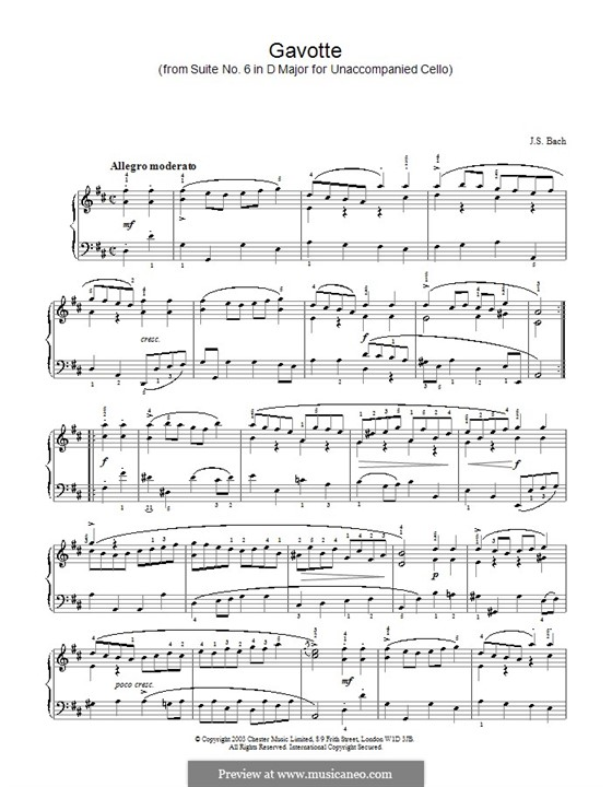 Suite for Cello No.6 in D Major, BWV 1012: Gavotte. Version for piano by Johann Sebastian Bach