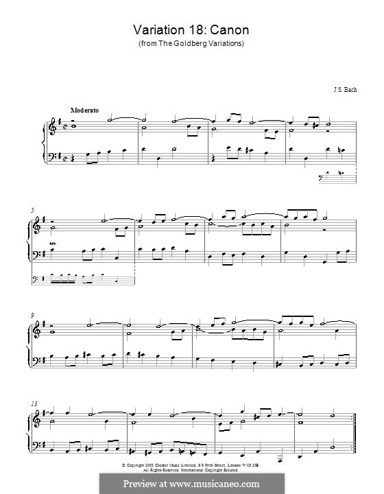 Goldberg Variations, BWV 988: No.18, for piano by Johann Sebastian Bach