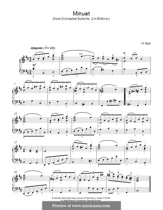 Orchestral Suite No.2 in B Minor, BWV 1067: Minuet. Version for piano by Johann Sebastian Bach