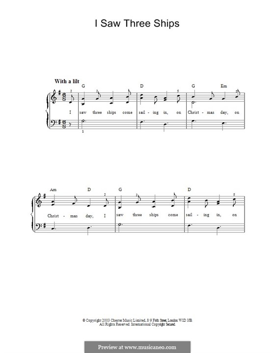 I Saw Three Ships: For easy piano by folklore