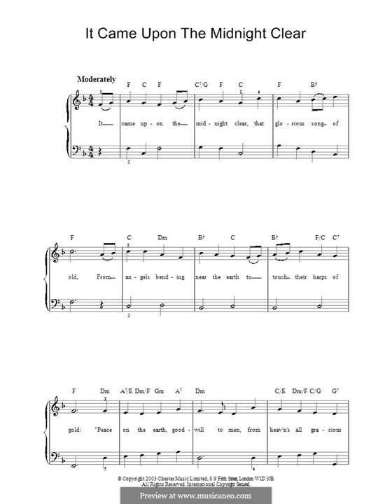It Came upon the Midnight Clear, for Piano: Easy version (F Major) by Richard Storrs Willis