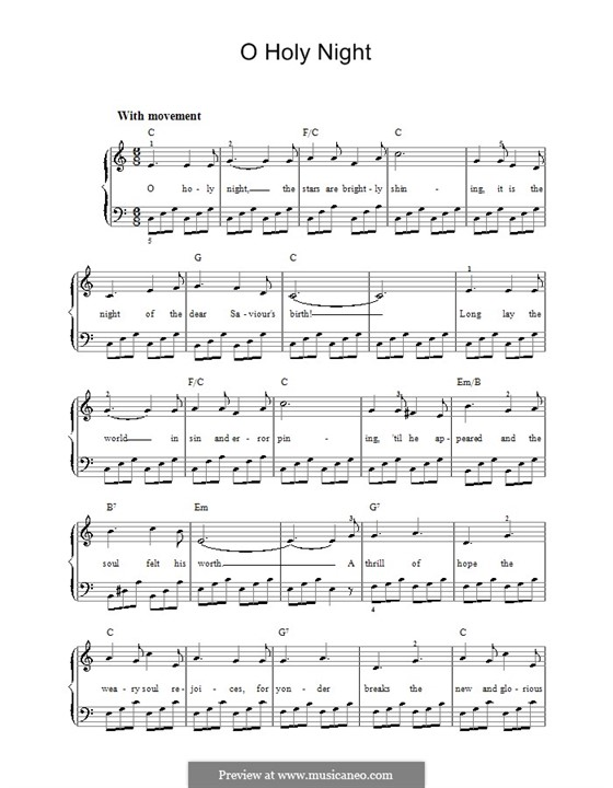 O Holy Night, for Piano: Version for easy piano (with chords) by Adolphe Adam