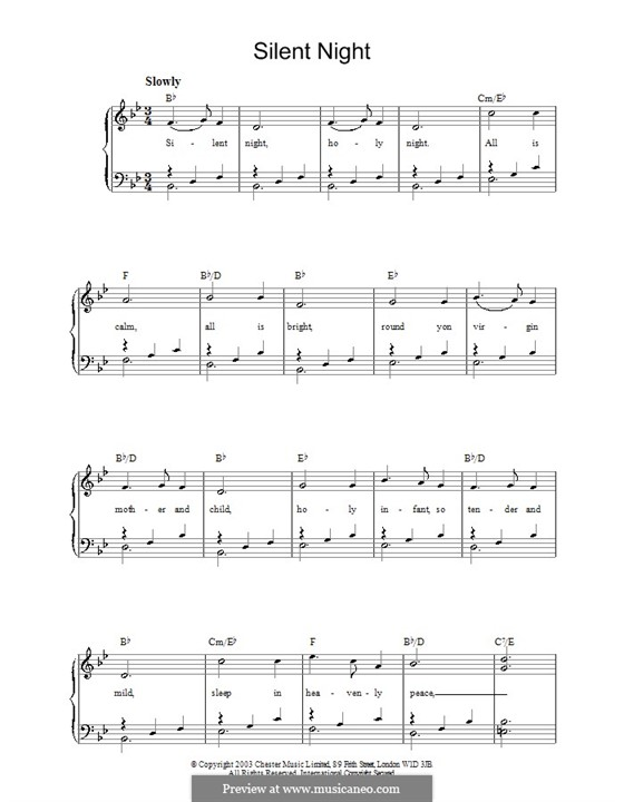 Silent Night, for Piano: Version for easy piano by Franz Xaver Gruber