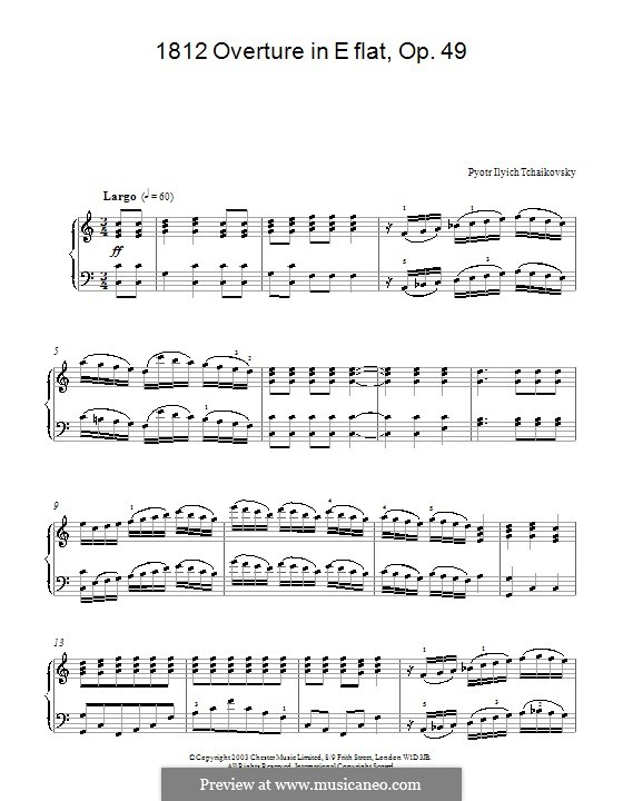 1812. Festival Overture, TH 49 Op.49: Arrangement for piano (Fragment) by Pyotr Tchaikovsky