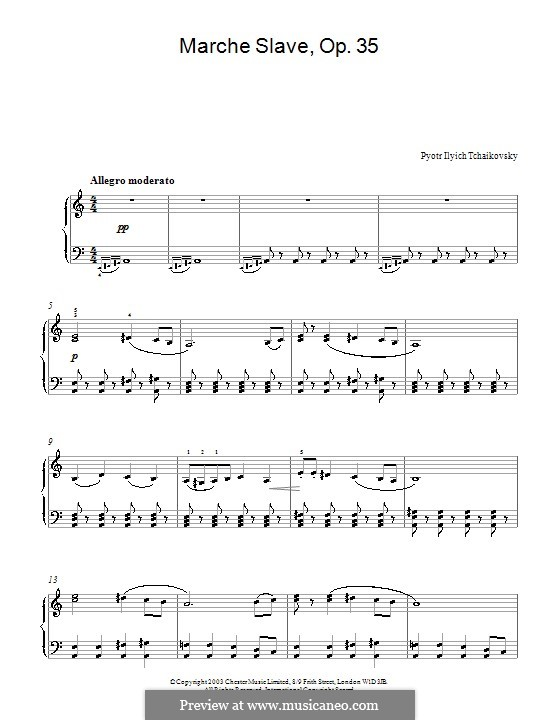 Slavonic March, TH 45 Op.31: Arrangement for piano (Fragment) by Pyotr Tchaikovsky