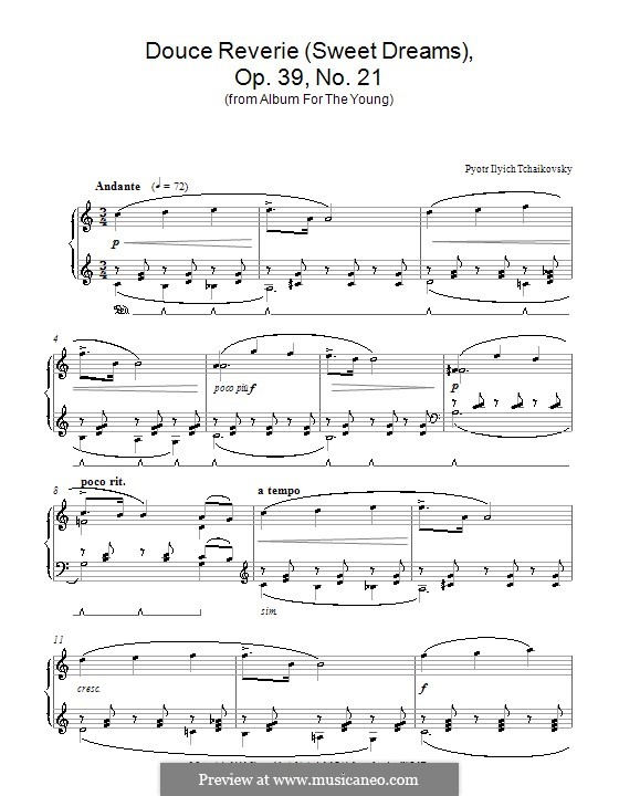 No.21 Sweet Dream: For piano (high quality sheet music) by Pyotr Tchaikovsky