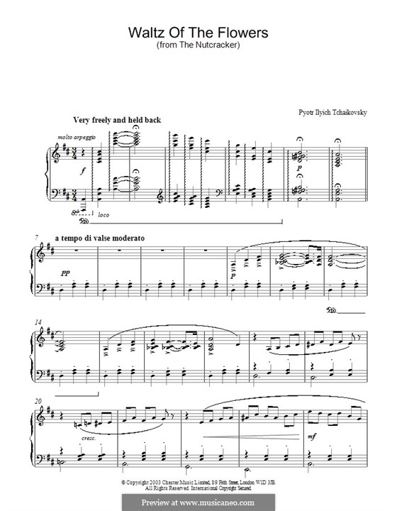 No.8 Waltz of the Flowers: For piano (D Major) by Pyotr Tchaikovsky