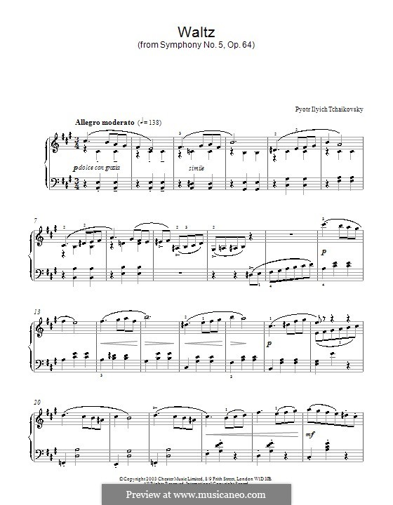 Movement III: Arrangement for piano (Fragment) by Pyotr Tchaikovsky