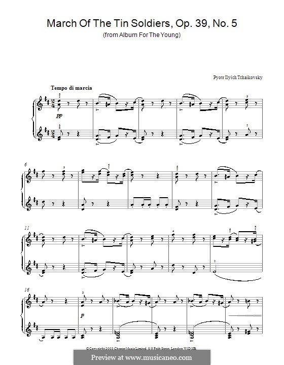No.5 March of the Wooden Soldiers: For piano by Pyotr Tchaikovsky