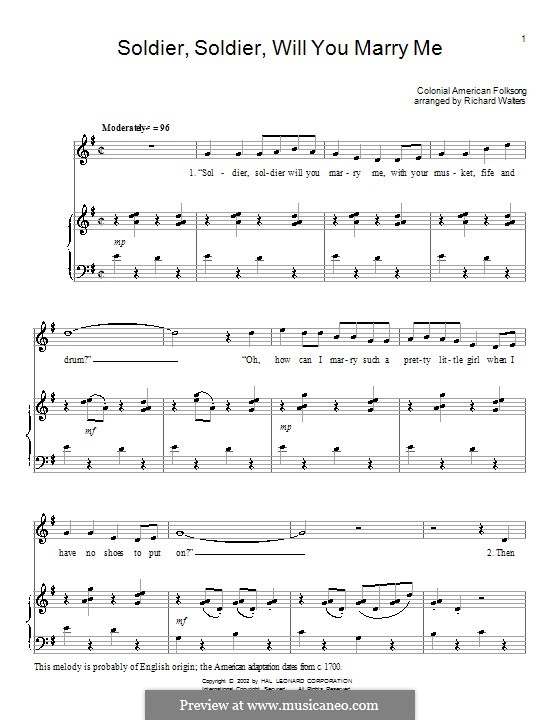 Soldier, Soldier Will You Marry Me: For voice and piano (or guitar) by folklore