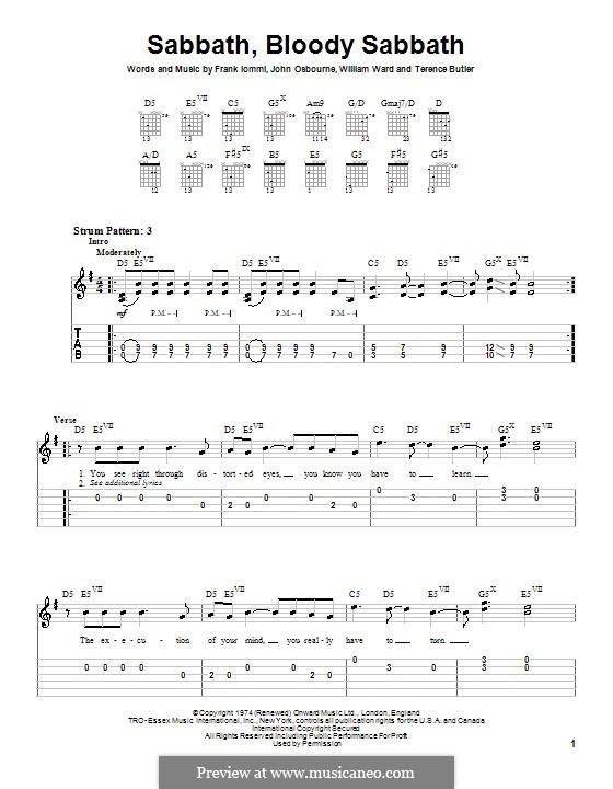 Sabbath, Bloody Sabbath (Black Sabbath): For guitar (very easy version) by Geezer Butler, Ozzy Osbourne, Tony Iommi, Bill Ward