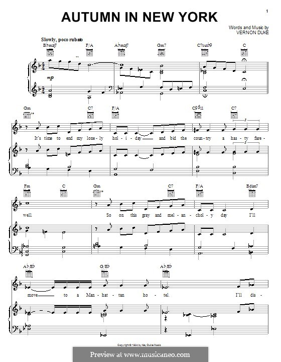 Autumn in New York: For voice and piano or guitar (Frank Sinatra) by Vernon Duke