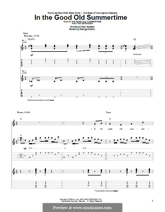 In the Good Old Summer Time: For guitar with tab by George Evans