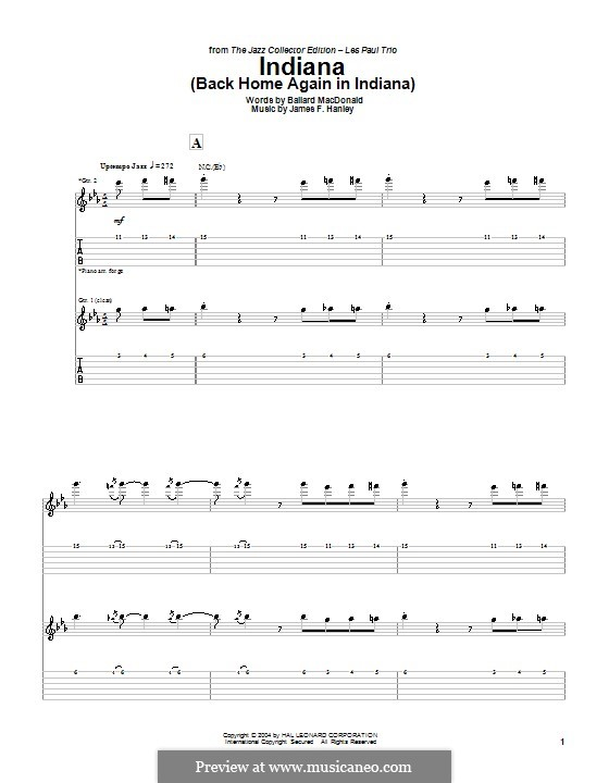 Indiana (Back Home Again in Indiana): For guitar with tab by James Frederick Hanley