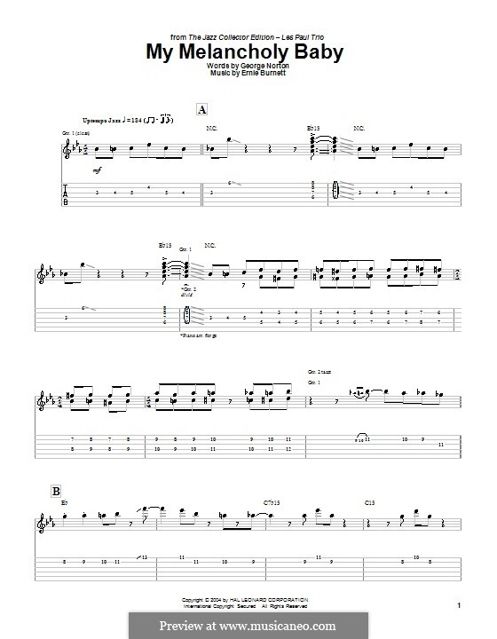 My Melancholy Baby: For guitar with tab (Les Paul) by Ernie Burnett