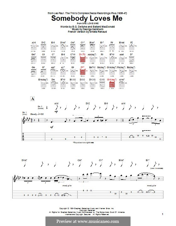 Somebody Loves Me: For guitar with tabulature by George Gershwin