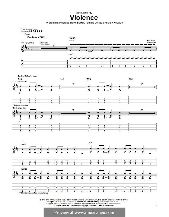 Violence (Blink-182): For guitar (Blink-182) by Mark Hoppus, Tom DeLonge, Travis Barker