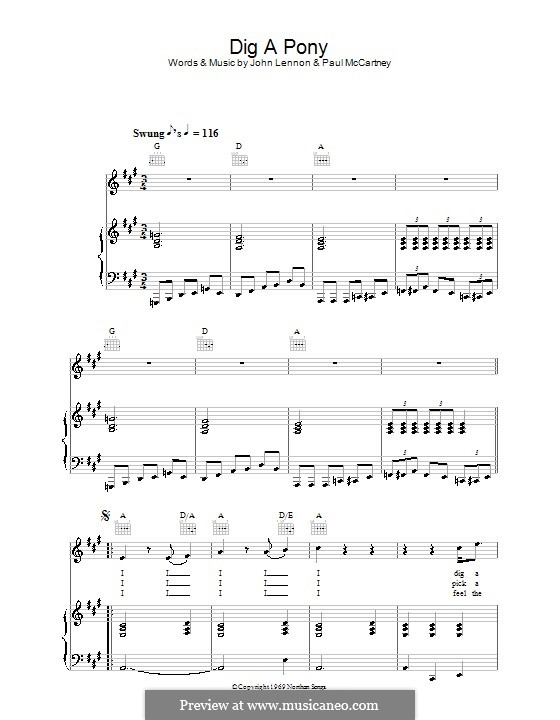 Dig a Pony (The Beatles): For voice and piano (or guitar) by John Lennon, Paul McCartney