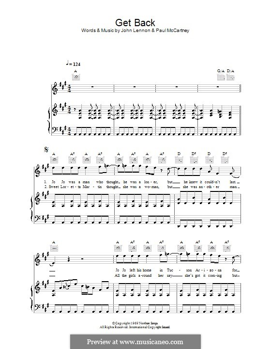 Get Back (The Beatles): For voice and piano (or guitar) by John Lennon, Paul McCartney