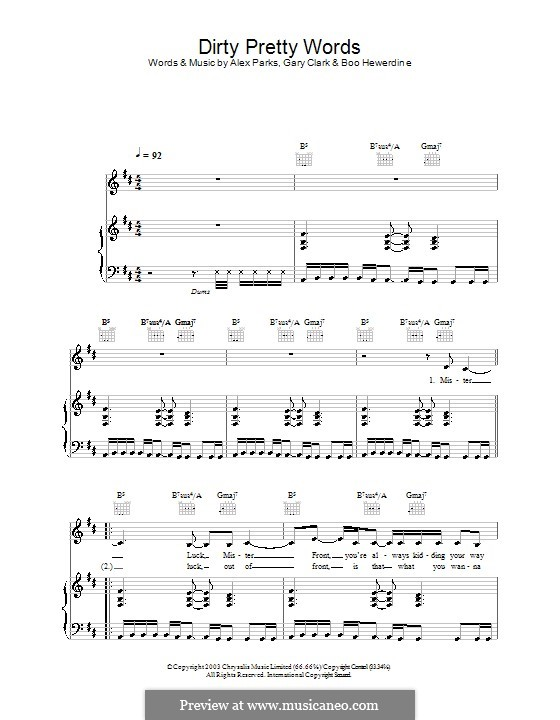 Dirty Pretty Words: For voice and piano (or guitar) by Boo Hewerdine, Gary Clark
