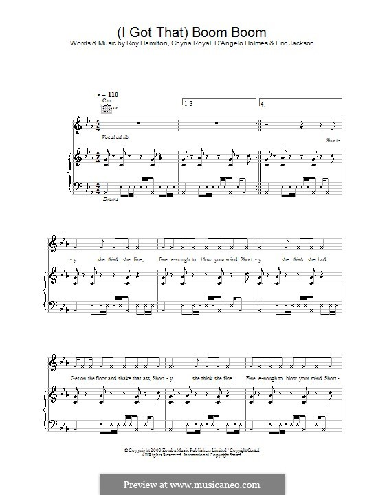 (I Got That) Boom Boom (Britney Spears): For voice and piano (or guitar) by Chyna Royal, D'Angelo Holmes, Roy Hamilton
