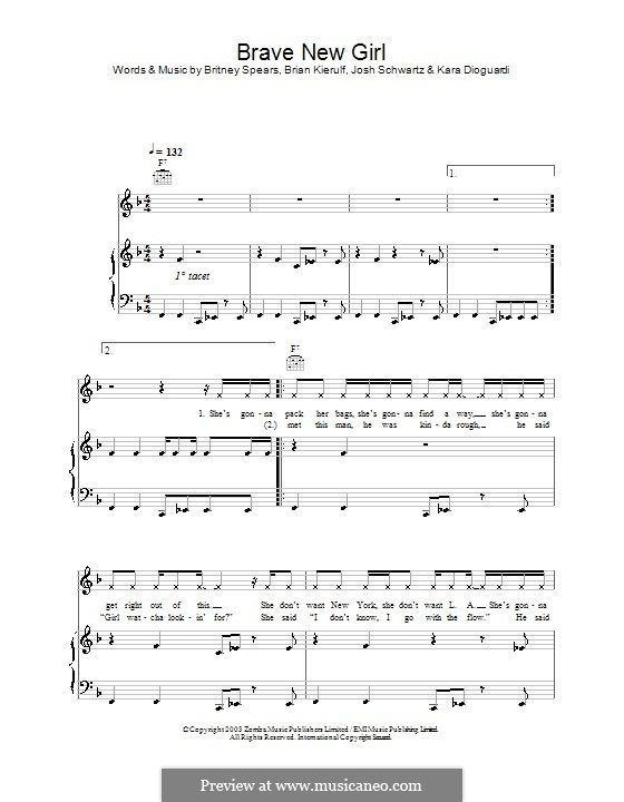 Brave New Girl (Britney Spears): For voice and piano (or guitar) by Brian Kierulf, Joshua Schwartz