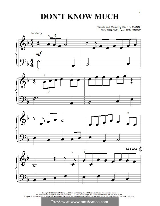 Don't Know Much (Aaron Neville & Linda Ronstadt): For piano (very easy version) by Barry Mann, Tom Snow