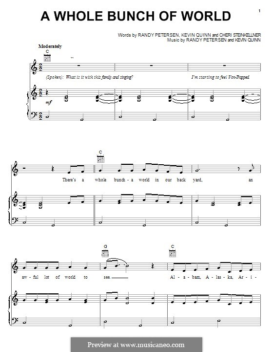 A Whole Bunch of World (from Disney's Teacher's Pet): For voice and piano (or guitar) by Cheri Steinkellner, Kevin Quinn