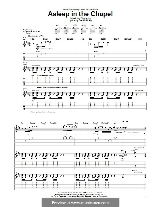 Asleep in the Chapel (Thursday): For guitar with tab by Geoff Rickly
