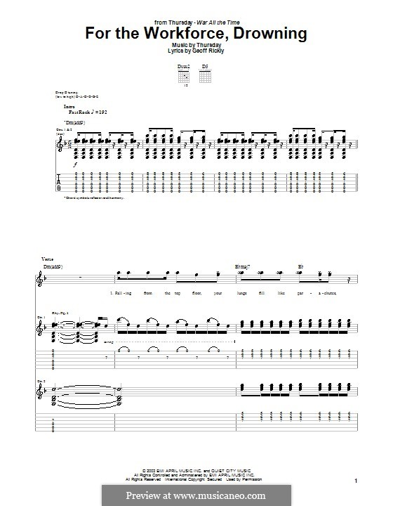 For the Workforce, Drowning (Thursday): For guitar with tab by Geoff Rickly