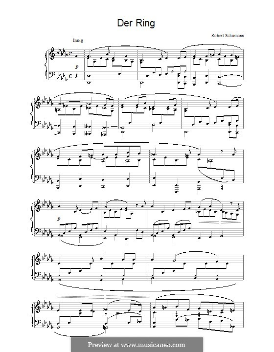 Woman's Love and Life, Op.42: No.4 Thou Ring upon My Finger, for piano by Robert Schumann