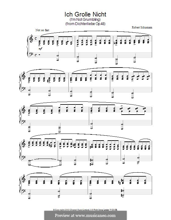 No.7 I Do Not Chide You: For piano by Robert Schumann