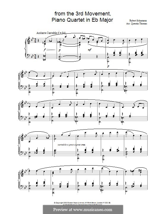 Piano Quartet in E Flat Major, Op.47: Movement III. Version for piano by Robert Schumann