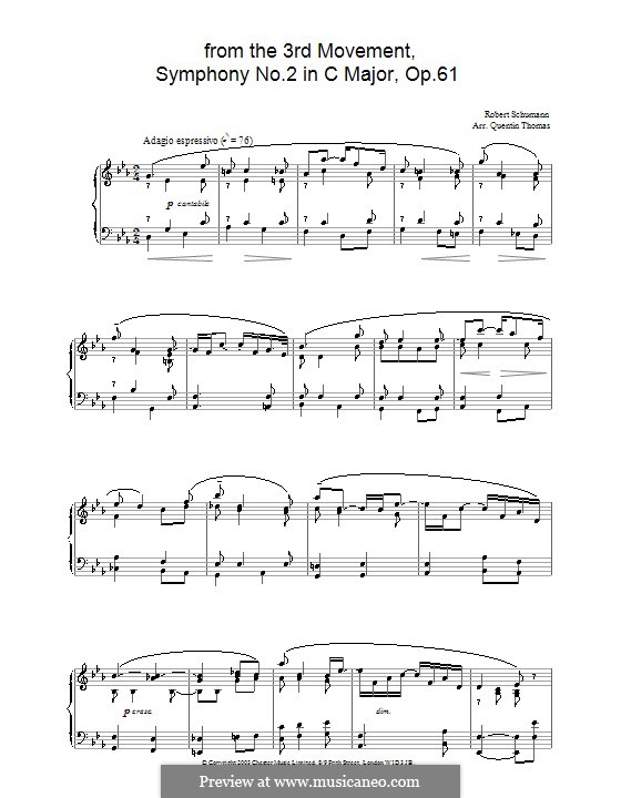 Symphony No.2 in C Major, Op.61: Movement III (Theme). Version for piano by Robert Schumann