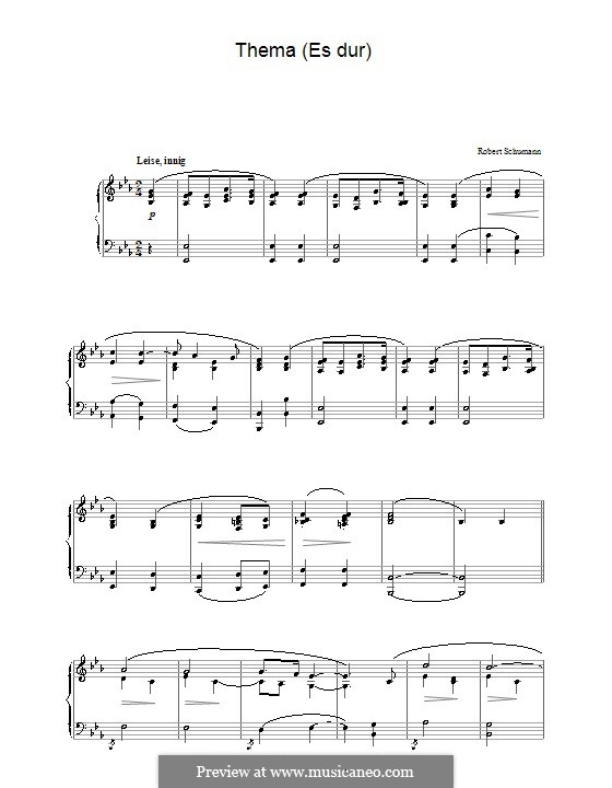 Theme in E Flat Major: For piano by Robert Schumann