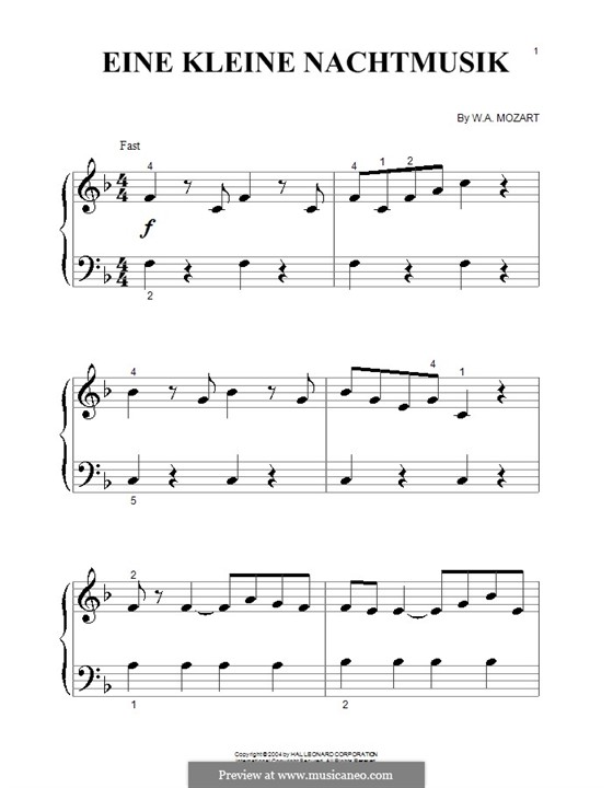 Allegro, version for piano: Very easy version by Wolfgang Amadeus Mozart