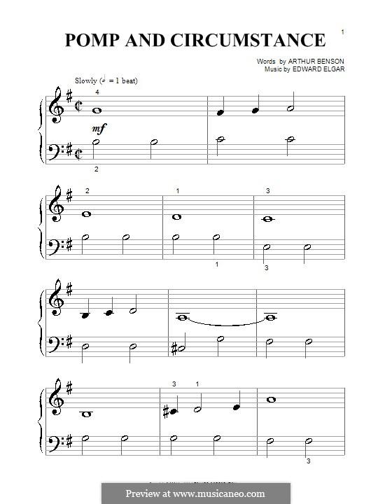 March No.1: Trio, for piano (very easy version) by Edward Elgar